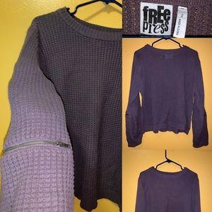 Grunge zipper sleeve grey sweater